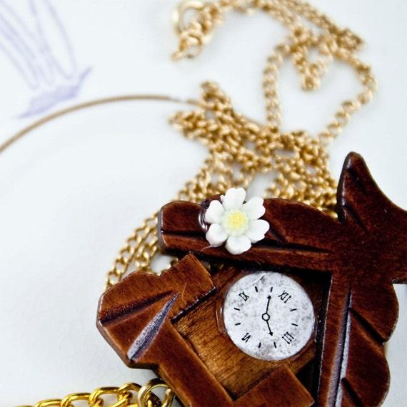 Miniature wooden cuckoo clock necklace by eksterhuis on etsy - Wooden cuckoo clocks ...