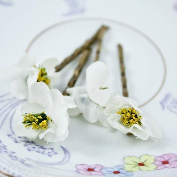 Vintage Millinary Flower Hairslide - Hair, Hair Accessories, White, Wedding, Woodland, Cherry Blossom, Sakura