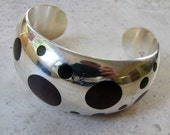 William Spratling Design Silver Rosewood Dot Cuff Bracelet. Taxco. Mexico