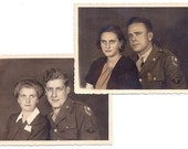 2 Vintage Photos - WW2 Wartime Sweethearts - North Africa 1940s - Colorized Sepia Real Photograph
