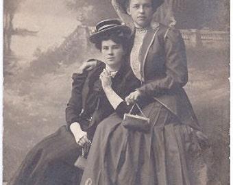 Rare Vintage Photo - Aristocratic Ladies in Tsarist Russia 1908 Sepia Real Photograph Postcard rrpc