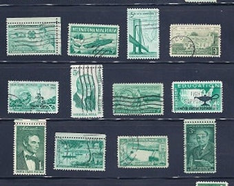 USA Green Vintage Stamps 1950-60s