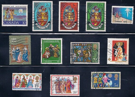 We Three Kings Christmas Vintage Stamps 1970-80s - PURCHASE any 2 lots of stamps for 1.00 dollar refund or 3 lots for 2.00 dollar refund
