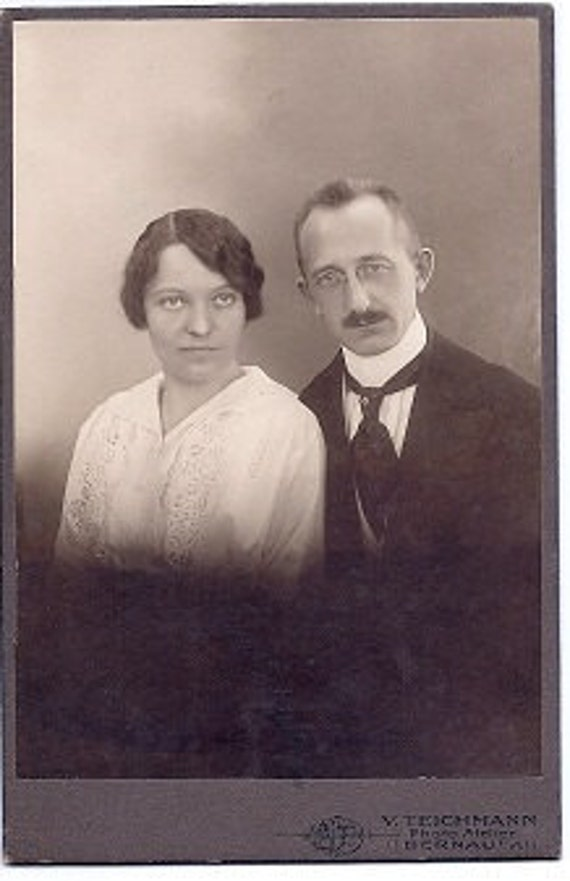 ON SALE Vintage Photo early 1900s - V. Teichmann photographis - Aristocratic Couple in Europe - Sepia Cabinet Card