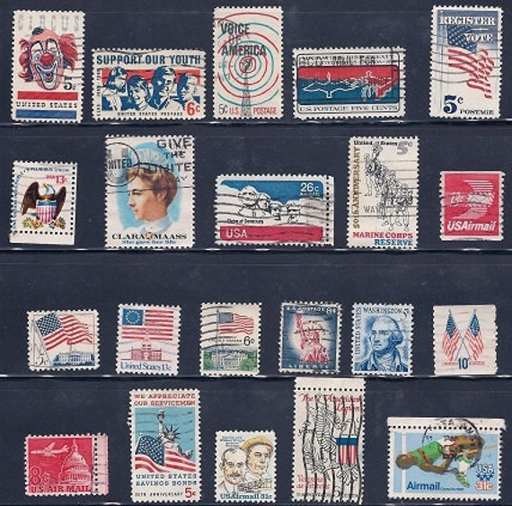 USA Red, White and Blue Vintage Stamps 1960s