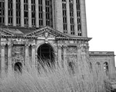 Detroit Michigan Central Abandoned Train Station Photograph Black and White - 8x10 print matted to 11x14 ready to frame