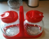 Vintage 50's Red Covered Condiment Set