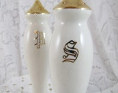 Vintage Salt and Pepper Set-  White and Gold Lustreware China