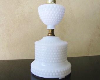 Milk Glass Hobnail Lamp- Vintage White Glass Electric Lamp