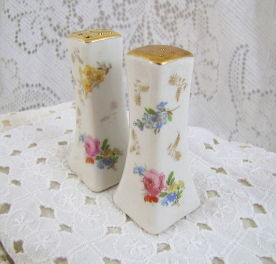 Shabby Chic vintage salt and pepper set- china with gold luster ware