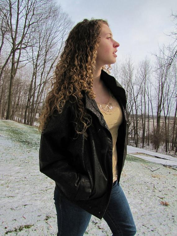 SALE-Vintage Leather Jacket- Black- Women's Size Small- Moto style Jacket- Was 98.00