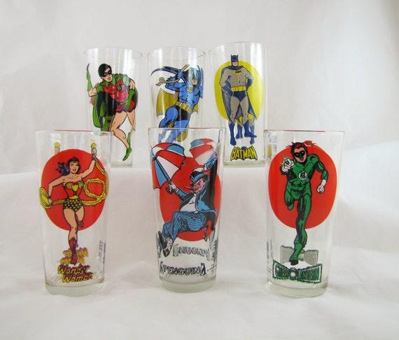 DC Comic Glass Tumbler Set- Vintage Pepsi Glasses- Batman, Robin, Wonder Woman, Penguin, Green Lantern- Set of 6