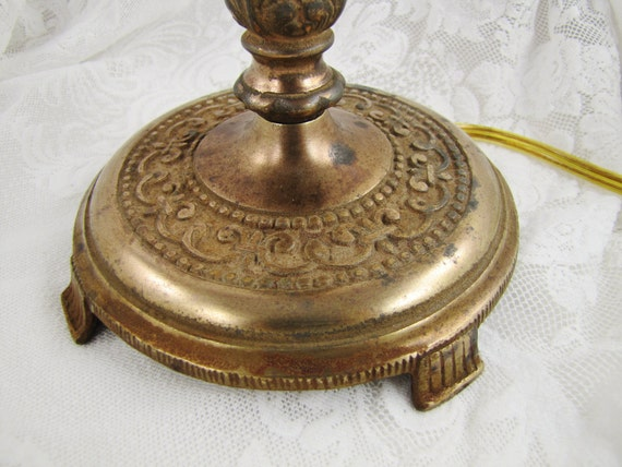 Antique Cast Brass/Bronze Lamp- Small Bedside or Desk Lamp- Ornate Vintage Lighting