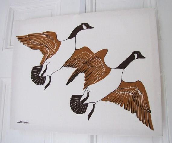 Set of Five Vintage Marushka Silk Screen Prints- Duck Scene Wall Hangings