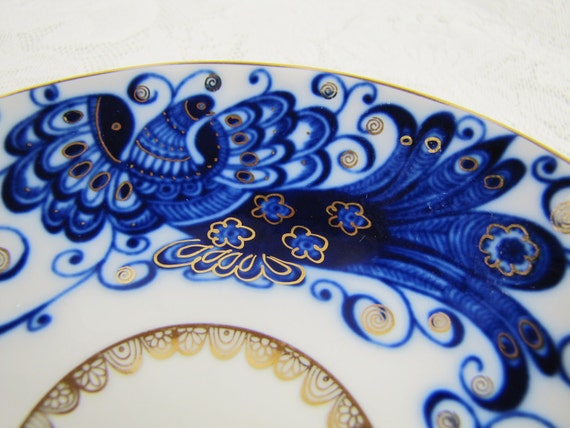 Peacock- Lomonosov Russian Porcelain Teacup and Saucer- Tsar Bird Pattern- Cobalt Blue and Gold- Handpainted Vintage China