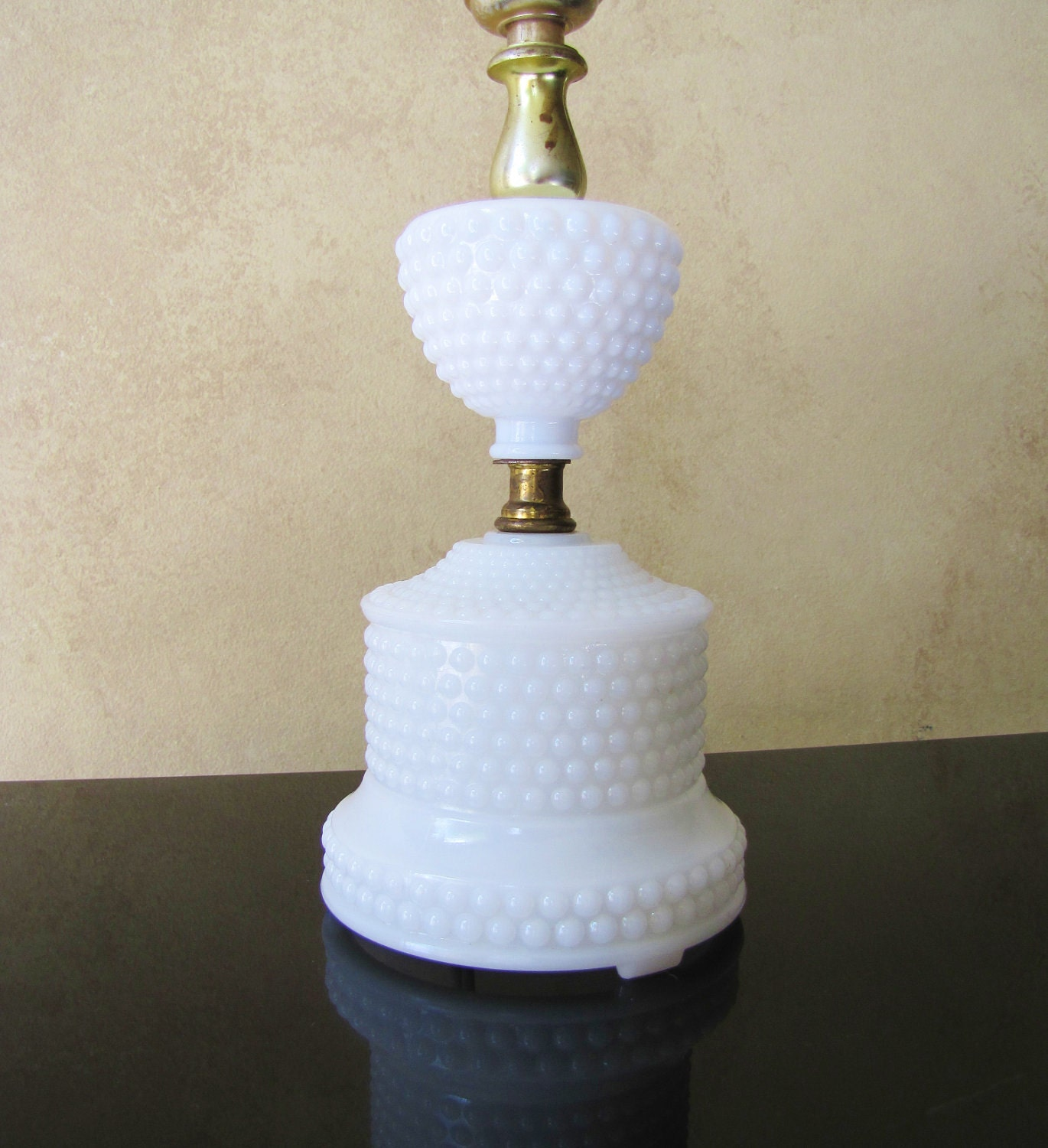 Milk Glass Hobnail Lamp Vintage White Glass By