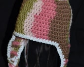 Pink Camo earflap hat - Sizes 0-5 years