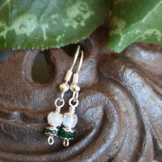 Dainty Fertility Earrings  with Blessing, Moonstone and Aventurine