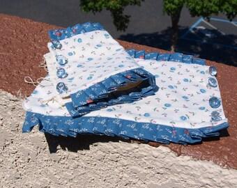 Womens Blue Rose Fabric Wrist Cuffs, Pleated was 25 now 15 dollars, teens, girls