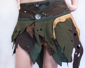 Tribal Forest Leather and Fabric Wrap Skirt