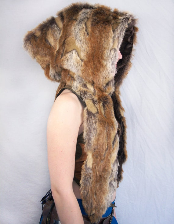 Brown and beige textured faux fur Shambhala style hood with brown OR grey lining
