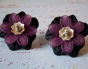 Midnight Madness - Black and Lavender Floral Earrings