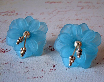 Big Sky - Cerulean Blue and Silver Floral Earrings