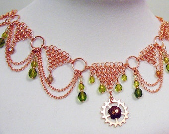 SALE: Reine de Cuivre - Steampunk Chainmaille Copper and Olivine Choker