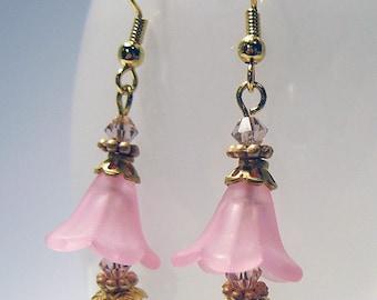 Rose Bells - Pink Crystal Floral Earrings