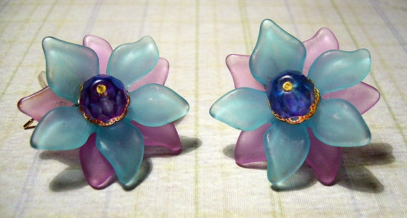 Twilight - Blue and Lavender Floral Earrings
