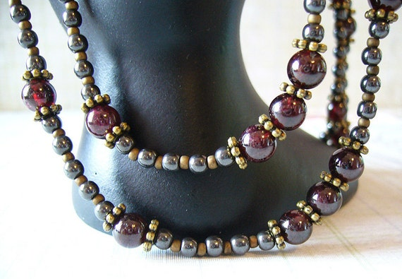 SALE: Anya - Garnet and Hematite Double Strand Necklace