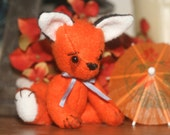 Jointed Felt Orang Fox Art Doll - Frisky the little Fox - Animal doll - toy - Miniature Artist bear fox
