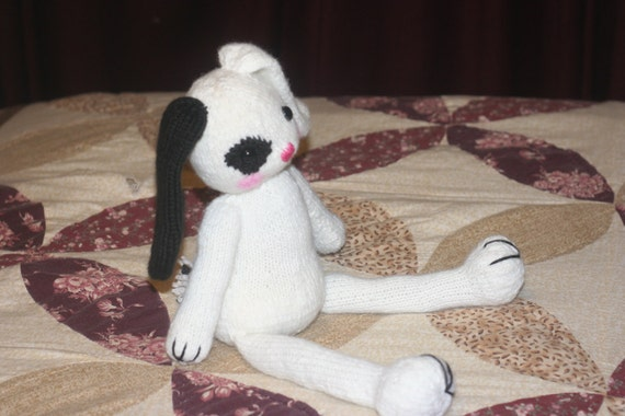 Knitted Bunny Doll Toy - Amigurumi Animal - Black and White - 15 inch long rabbit toy