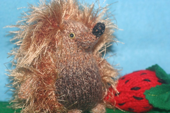 Miniature Knitted Hedgehog and Strawberry Doll Set - Spikey Brown Hedgehog toy and Strawberry Knit - Animal Amigurumi