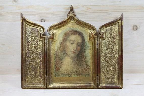 Religious Renaissance Gilded  Icon Italian Vintage Pocket  Altar