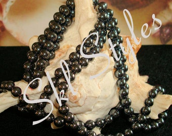 """ON SALE - Hematite (Non-Magnetic) - 15.5"""" inch strand - 6mm smooth rounds"""