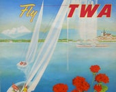Original vintage TWA travel poster for Geneva