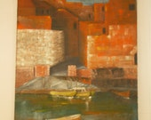 Vintage oil painting of mediteranean village and boats