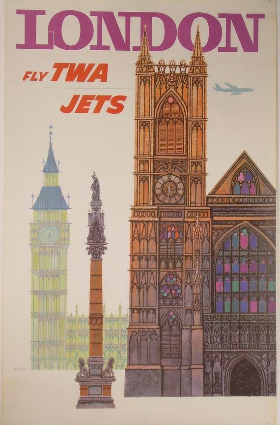 Original David Klein TWA London travel poster