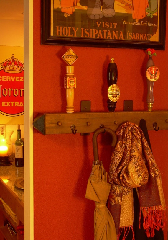Beer tap handle coat rack made from antique salvaged wood