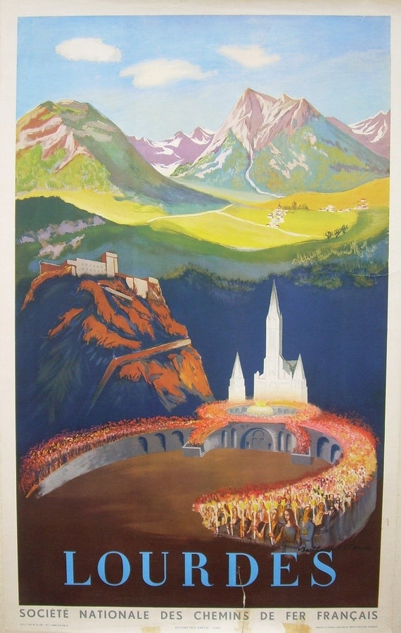 Original vintage travel poster advertising Lourdes, France