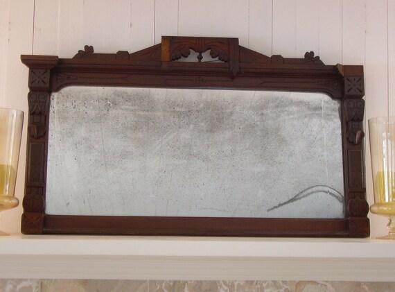 Antique architectural salvage mirror with vintage mercury glass