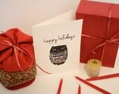 1 Hand Printed Sleeping Owl Happy Holiday Linocut Card