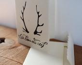 1 Hand Printed Antlers Linocut Card