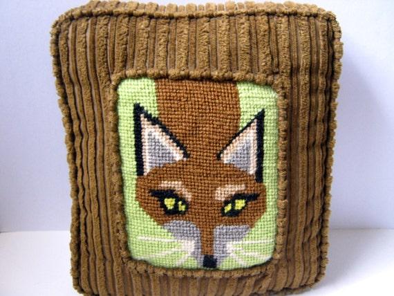 Fox Needlepoint Throw Pillow