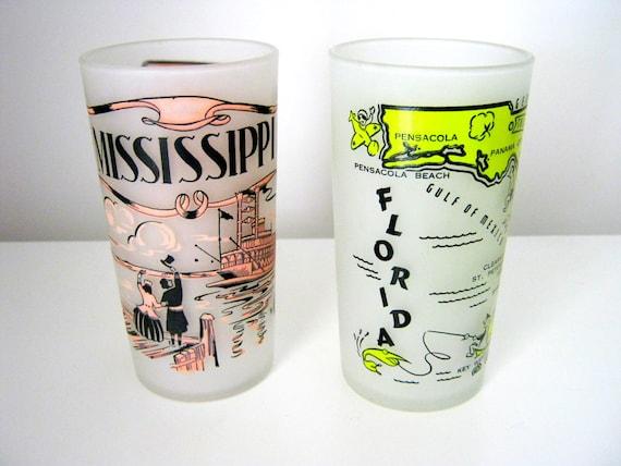 50s Vintage Hazel Atlas Collectible State Glasses Florida and Mississippi
