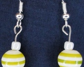 Yellow and White Stripe colored beaded  EARRINGS