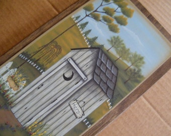 Wood Country Vintage Bathroom OUTHOUSE Sign HERS