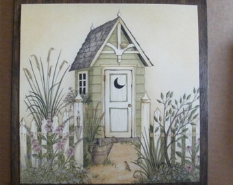 Green OUTHOUSE Water Can   Country Primitive  Bath Bathroom 11x11 in Sign