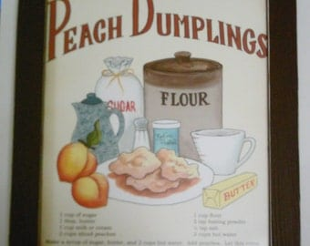 PEACH Dumpling Recipe Sign  Retro Primitive Country  KITCHEN Decor Sign